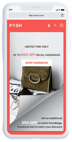 Page curl with a handbag product category call to action