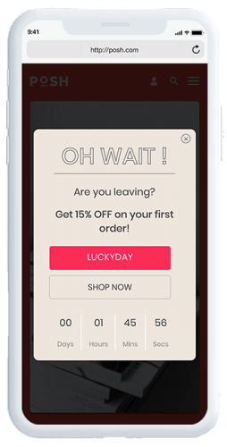 Gamified mobile engagement exit intent example showing a countdown timer and a 15& off first order discount code to drive immediacy