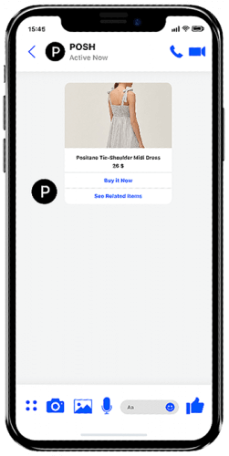 Gamified mobile engagement using messaging apps like WhatsApp Business. Showing a dress and incentivizing the shopper to act now.