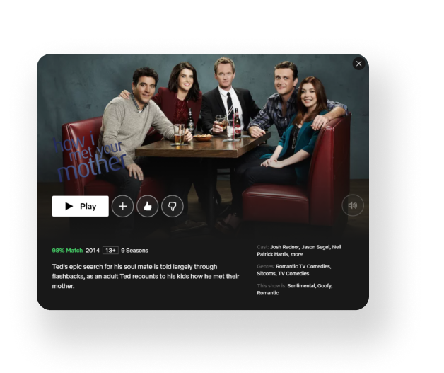 """The visual that shows """"like/dislike"""" buttons on Netflix screen"""