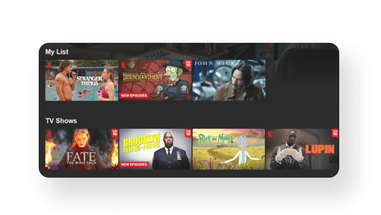 The visual that shows Netflix algorithms immediately recommend other TV shows that you might like