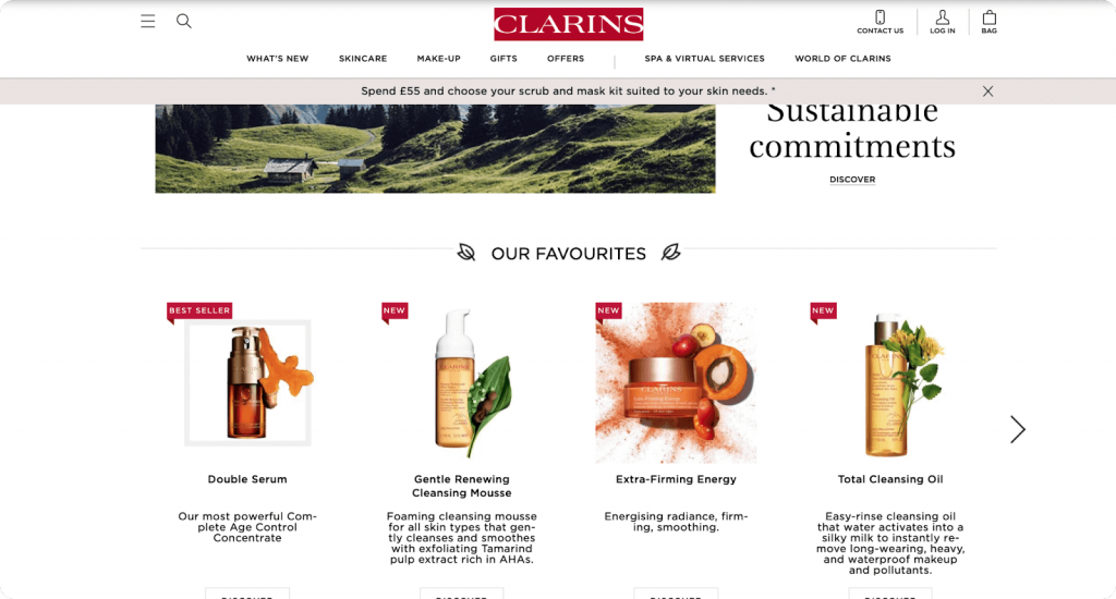 recommendation system on clarins website