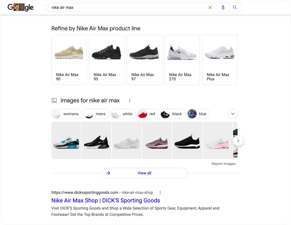 Nike air max google search results page